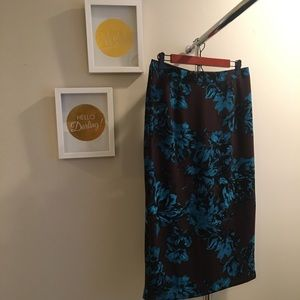 Brown and teal patterned pencil skirt